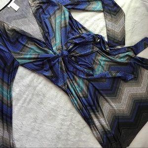 Cache Faux Wrap Chevron Ombre Dress Long Sleeves